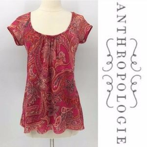 NEW Anthropologie Top Sweet Pea Floral Paisley